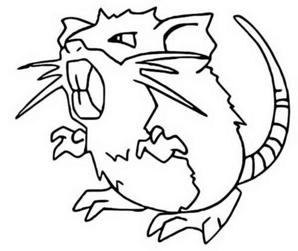 coloriage pokemon Rattatac