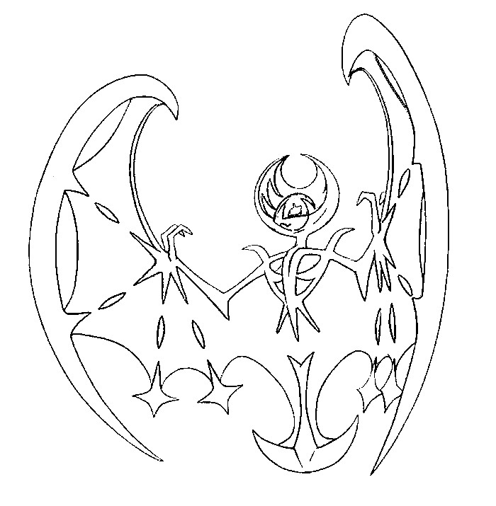 coloriage pokemon Lunala